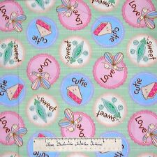 Nursery Fabric - Having A Baby Pink Green Blue Words Camelot Cotton Quilt YARD