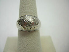 18KT White Gold Wide Diamond Cut Dome Ring Sz. 7