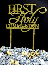 GOLD GLITTER 1ST HOLY COMMUNION OR CROSS CAKE TOPPER SIGN 3 PLY WOOD DECORATION