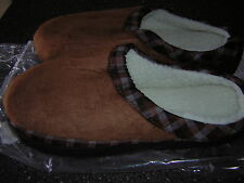 NIB New Men's Brown Slippers House shoes -Size 9 10  XL - Indoor Outdoor sole