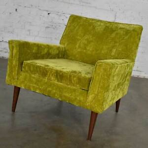 MCM Chartreuse Crushed Velvet Lounge Club Chair Style of Paul McCobb
