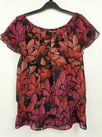Warehouse ladies blouse multicoloured silk short sleeve size 8