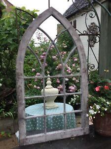 Arched Gothic Style Metal Verdigris Metal Garden Mirror Best Value