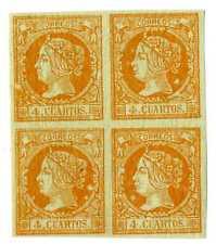 Sellos de España 1860 nº 52 naranja 4 cuartos Isabel II  Bloque de Cuatro nuevo