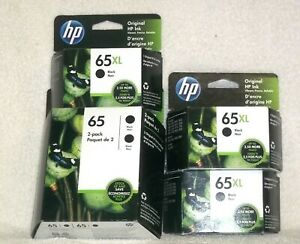 HP 65 Black 4 New Ink Three XL Cartridges and 1 Two Regular Cartridge Pack
