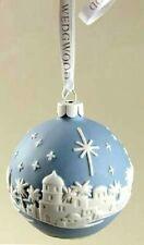 2008 Ornament Wedgwood Ball ~Jasperware Blue ~ Heaven Comes To Earth Nib