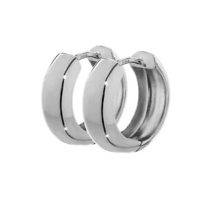 Pair of 8K 333 White Gold Hoop Earrings 12.2 x 3.2mm High Polished Round
