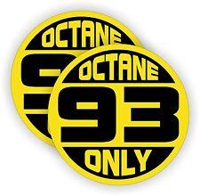 (2) 93 OCTANE ONLY Fuel Door Vinyl Stickers   Mustang Camaro Decals   Labels