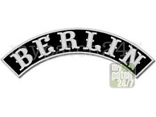 Aufnäher Biker Patch, BERLIN,  Bogen oben 30cm gestickt, Top Rocker, MC, Kutte