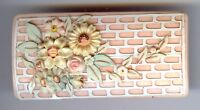 VINTAGE PAINTED CELLULOID RECTANGLE RAISED FLOWERS ON BRICK WALL PIN BROOCH