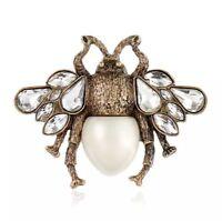 Bienen Brosche Pin Luxus Biene Weiße Perle Anstecknadel Bee White