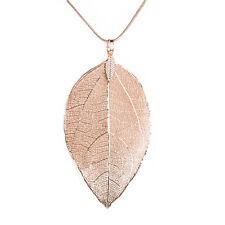 Fashion Women leaf Pendant Long Chain Chunky Statement Bib Necklace Jewelry