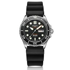Rotary Super 7 Scuba Dive Automatic Black Dial Silicone Strap Mens Watch S7S001S