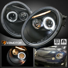 For 1998-2005 VW Beetle Black Halo Projector Headlights Pair