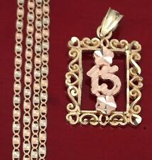14k Yellow Rose 15 Quincenera Flower Charm Pendant Valentino chain 18 INcH