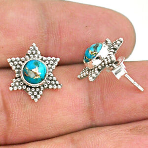 2.40cts Blue Copper Turquoise 925 Sterling Silver Stud Earrings Jewelry T34187