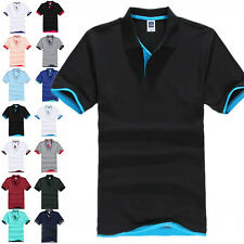 Men Classic Polo Shirts Short Sleeve Summer Golf Plain Casual Lapel T-Shirt Tops