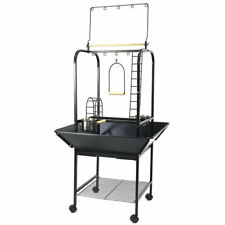 Large Parrot Bird Play Stand Bird Cage Gym Perch w Feed Cup Rolling Caster 142CM
