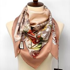 NWT GUCCI Beige Wondergarden Crest Birds & Flowers Silk Scarf Shawl Auth $440