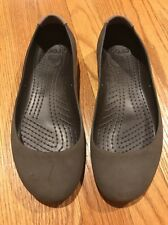 CROCS Suede Tip Brown Tan Mary Jane Ballet Flats Loafers Shoes Womens Sz 7 #