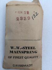 W. W. Steel Mainspring Made In Switzerland NOS Elgin 12 #132 #2339