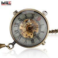 Vintage Bronze Ball Windup Mechanical Steampunk Pocket Watch Mens Chain Gift New