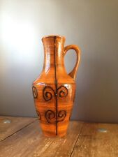 SUPER RETRO ILKRA JL KNODGEN MCM JUG / VASE WEST GERMAN POTTERY 2029/25 ORANGE