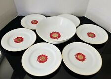 Chinese Serving Soup Bowl With 6 Side/Rice Plates Vintage