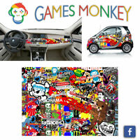 Pellicola Car Wrapping Adesiva 70x50 cm - STICKER BOMB 03 - Vinile PVC Lucido HD