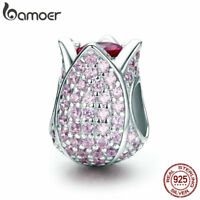 BAMOER Shine 925 Sterling silver charm tulip Bead & Pink CZ For bracelet Jewelry
