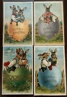 Beautiful~Lot of 4 Dressed Bunny Rabbits in Eggshells ~Vintage Easter Postcards