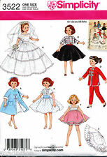 "SIMPLICITY SEWING PATTERN 3522 RETRO STYLE 10½"" / 26CM FASHION DOLL CLOTHES"