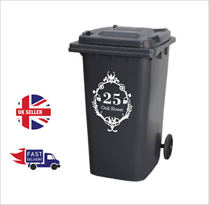 3 or4 x Luxury Custom Vinyl Decal Wheelie Bin Stickers House Number Street Name