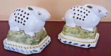 Handpainted Vintage Ceramic Portuguese Pottery Bunny Rabbit Pomanders - Set of 2