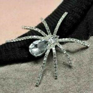 Spider Rhinestone Broach Witch Gothic Punk Halloween Costume Jewelled Jewellery