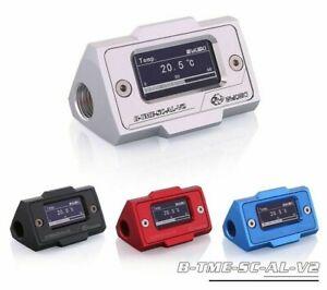 Water Temperature Sensor Meter Cooler System Double G1/4'' Fitting Digital