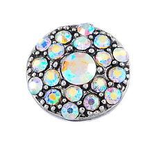 1PC Snap Mini Button Fit DIY Chunk Bracelet Rainbow Crystal Gypsophila 13mm