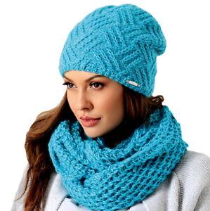 Pawonex Damen Winterset Wintermütze Strickmütze Mütze Beanie Loopschal mit Wolle