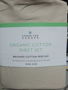 New Under The Canopy King Sheet Set 100% Brushed Organic Cotton Color Canvas