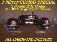 3 Skid Steer Equipment MIRRORS 2 Side + 1 Center Loader Fit: bobcat mustang etc