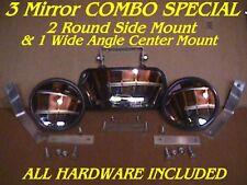 3 Skid Steer Equipment MIRRORS 2 Side + 1 Center Loader Fit: bobcat mustang etc