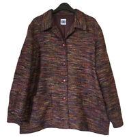 PENNY PLAIN Women UK 16/18 L British Vtg 90s Preppy Jacket Blouson Wine Melange