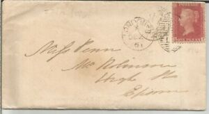 GB QV 1861 COVER PENNY RED STAR 'RF' FROM LONDON TO EPSOM DT 27TH DECEMBER 1861.