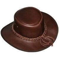 Cowboyhut Westernhut Lederhut Knautschbar in schwarz oder braun Echtes Leder