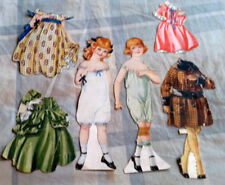 "ANTIQUE Paper Dolls 12.5"" Early 1900s, 2 Outfits Each, rather rough condition"