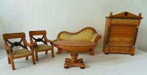 Empire Puppenmöbel  Bodo Hennig Holz 2 Stühle 1 Sofa 1 Schrank 1 Tisch