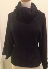 Calvin Klein Jeans Black Thick Cable Knit Cowl Neck Kimono 3/4 Sleeves Sweater S