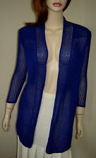 LAURA ASHLEY Sapphire Blue Crocheted Cotton Open Front Cardigan Sweater (S)