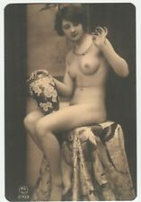 French nude woman Naked sitting with a jug real photo postcard REPRINT COPY