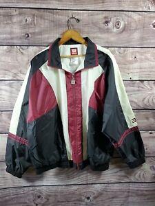 Vintage WILSON Men's Track Jacket Large Color Block Windbreaker Zip Front Lined